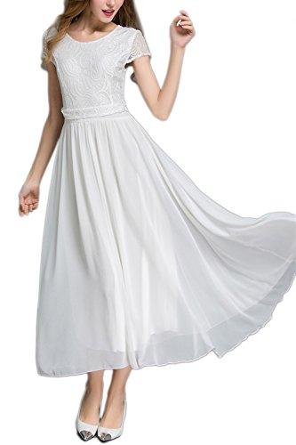Élégante dentelle de la femme brodée Maxi robe Swing white