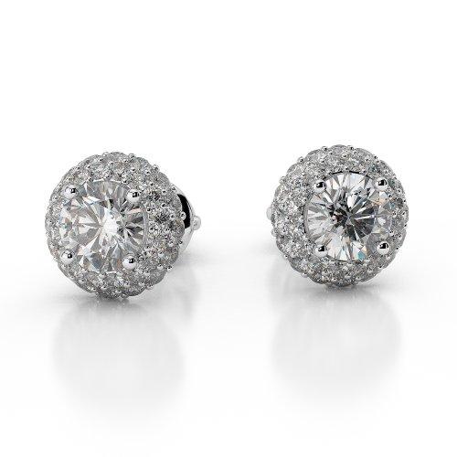 Or blanc 18carats 0,46CT G-H/VS sertie de diamants taille ronde Halo Boucles d'oreilles Agder-1012