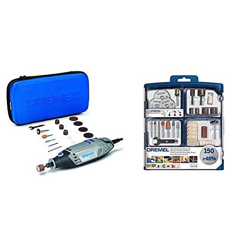 Dremel 33000JA 3000-15 Multiutensile a Filo, 130 W, Nero/Grigio + Dremel S724 Set di Accessori Multiuso, 150 Pezzi