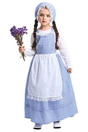 Kleinkind Mädchen Kostüm Bauer - Tollstore Kinder viktorianischen Maid Kostüm, Mädchen Viktorianisch Bauer Dienstmagd büchertag Kostüm Kleid mit Schürze und Mütze XS