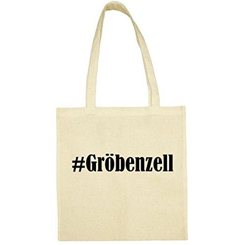 """Tasche""""#Gröbenzell""""Größe""""38x42""""Farbe""""Natur""""Druck""""Schwarz"""