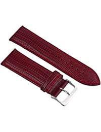 Bracelet de montre cuir Bordeau Teju-eidechs gravé 14–24mm bracelet Bracelet de Montre 18mm
