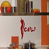 Pbldb Chili Chilischote Wandtattoo Wandtattoo Chili Gewürz Aufkleber Wasserdicht Vinyl Dekor Decals 20X43Cm