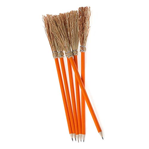 6 Bleistift Besen – 26 cm – Gelb orange