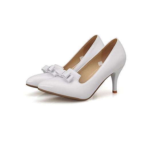 Donna Bianco Odomolor Scarpe Alto Leggere Solido Cuoio Colore Tira Tacco Wg6q6ArUF