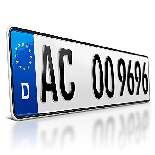 schildEVO 1 Kfz Kennzeichen | 520 x 110 mm | DIN-Zertifiziert - individuelles EU Wunschkennzeichen | PKW Nummernschild | Autokennzeichen | Auto-Schild | Fahrradträger & Anhänger | DHL-Versand