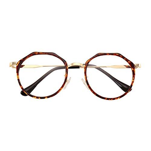 Aiweijia Männer und Frauen Mode Retro Myopie Gläser Metall Runde Gesicht Myopie Gläser Unregelmäßige Glasrahmen