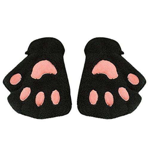 Drucken Fingerlose Handschuhe (Fingerlose Handschuhe Hirolan Kinderbekleidung Winterhandschuhe Katzenkrallen Lammfell Fäustlinge Plüsch Fingerhandschuhe Mode Mädchen Mitten Wollhandschuhe PU Lederhandschuhe (Schwarz, 15X10cm))