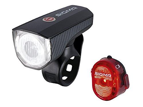 Sigma Sport LED Akku Fahrradbeleuchtung AURA 40 USB/NUGGET II Set, 40 LUX wiederaufladbare Fahrradlampe + Rücklicht, StVZO zugelassen, Schwarz