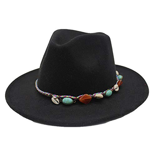 Fedora-Hut Wolle Leder geflochtenes Seil Türkis Boho Jazz Church Godfather breitkrempigen Hut Männer Frauen Hut (Farbe : Schwarz, Größe : 56-58CM)