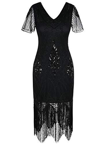 Kayamiya Damen 1920er Jahre Vintage Gatsby Kleid Ärmel inspiriert Perlen Pailletten Cocktail Flapper Kleid L Schwarz