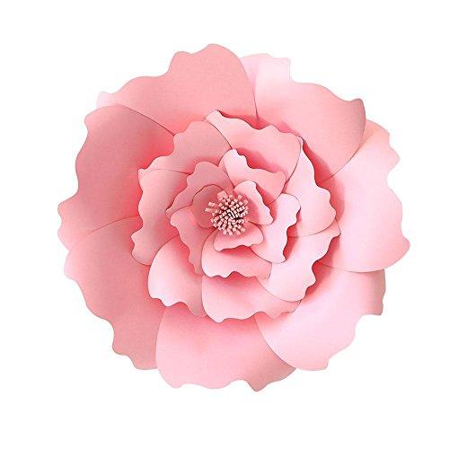Papier Blumen Vorlagen, AOLVO 40cm Große Handgefertigt Papier Blumen Dekoration für Kinderzimmer-Wand, Hochzeitshintergrund, Geburtstag Party, Geschenkparty (Rosa)