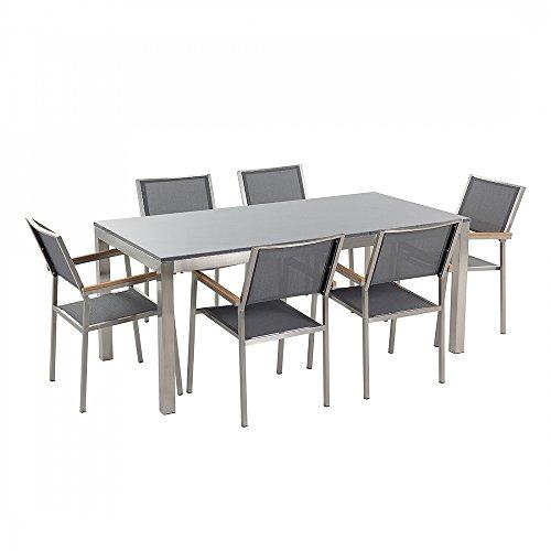 Gartenmöbel - Granitgartentisch single 180 cm grau poliert mit 6 grauen Stühlen - GROSSETO