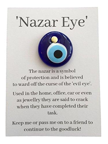 Nueva Nazar turco de cristal azul de mal de ojo Nazar amuleto buena suerte regalo sobre tarjeta
