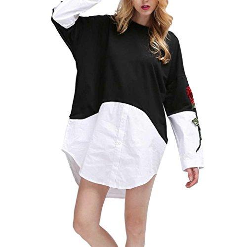 Ode_joy autunno e inverno manica lunga cucitura ricamato camicia da donna fake two pieces lunga plus roses ricamo camicia a maniche lunghe crew pullover, maglione