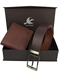 Hornbull Men's Washed Antique Wallet and Belt Combo