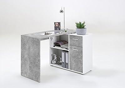 LEXA-Midi Corner Home Office Computer Desk Finished in Silver & White