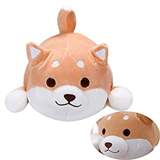 Fortuning's JDS® Shiba Inu Dog Plush Pillow Toddler Soft Toys Comfortable Plush Pillow Cute Dog Stuffed Pillows Soft Doll Chubby Cushion Toys Lifelike Animal Pillows Stuffed Toy Gift 21.6