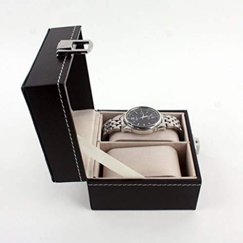 Schmuck Aufbewahrungsbox, CHsheTM Schmuckkasten 2 Steckplätze Perspektive Display Uhrenbox Schatztruhe Schmuckschatulle Organizer Aus Leder Für Unisex-Armbanduhr Ringe Armbänder Halsketten -