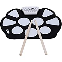 ammoon Portable Professional Drum Electronic Roll up Drum Pad Kit Silicon Foldable with Stick Record Function