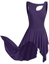 CHICTRY Robe Danse Latine Femme Asymétrique de sans Manche Robe Danseuse  Rumba Zumba Salsa Robe de f9ef60ba157