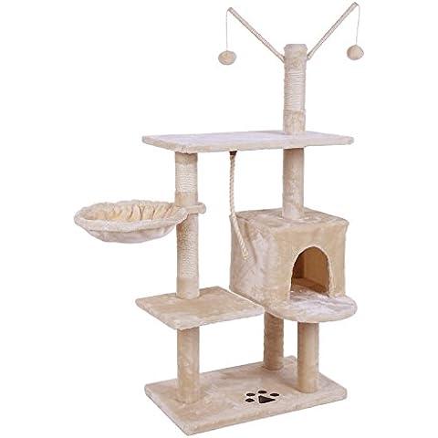 Songmics Árbol para gatos Rascador con nidos plataformas bolas de juego gran base 134 cm PCT35M