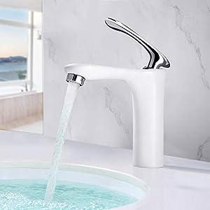 BONADE – Grifo monomando para lavabo, color blanco