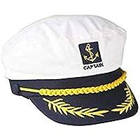 Sombrero de capitán de barco marinero azul marino con visera ajustable  color blanco f31f0172e2b