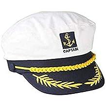 Sombrero de capitán de barco marinero azul marino con visera ajustable  color blanco a1e0a60d5ca