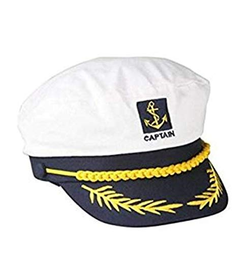 Sombrero de capitán de barco marinero azul marino con visera ajustable  color blanco 3ea6f0631e1
