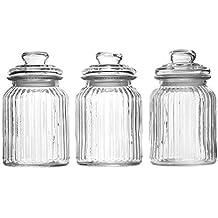 Maison & White Juego de 3 tarros de cristal herméticos vintage | Recipientes tradicional | Ideal