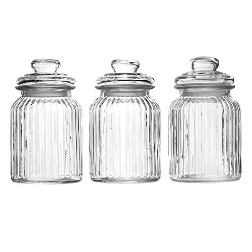 Set of 3 Vintage Airtight Glass Jars | Traditional Sweet Jar Style Storage Containers | Ideal for Tea, Coffee, Sweets and More | M&W (990ml)