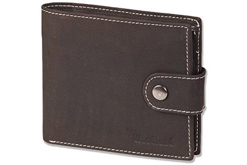 Woodland® Multibag 3 in 1: Geldbörse - Brustbeutel - Gürteltasche, alles in einem! Aus weichem, naturbelassenem Büffelleder in Dunkelbraun/Taupe, Dunkelbraun Woodland Band
