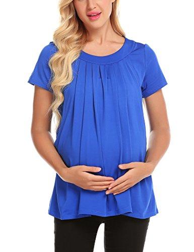 Schwangerschafts Tops Umstandsmode Sommer Kurzarm O-Ausschnitt