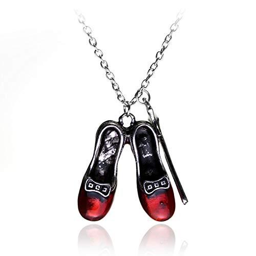�r Herren Alice Im Wunderland Magic Bars Red Shoes Pendant Necklace Magic Wand Sautoir Necklace Red Shoes Girl Gift Cosplay ()