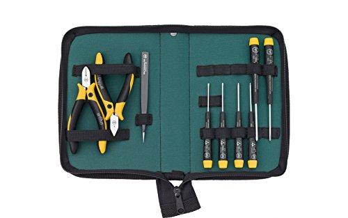 Wiha Werkzeug Set ESD Zangen, Schraubendreher, Pinzette 9-tlg. in Tasche (33505) für empfindliche elektronische Bauteile, Schutz von Komponenten durch elektrostatisch ableitendes Werkzeug, dissipativ, Werkzeug mit Oberflächenwiderstand