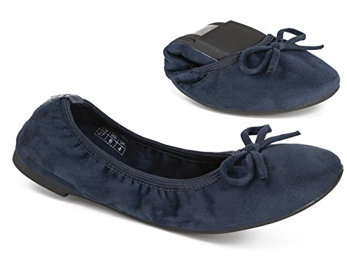 b5b6925e59cf Greatonu Girls Navy Suede Comfortable Slip On Ballerina Foldable Bow Tie  Dance Shoes Dolly Flats Size