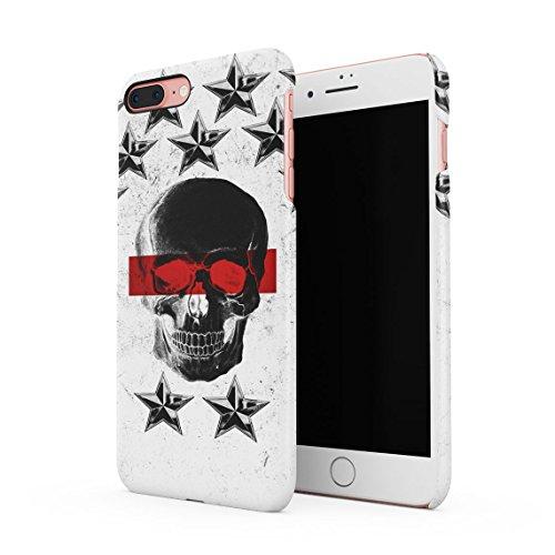 Black Skull Snap (Black Dead Man Skull & Schwarz Stars Pattern Dünne Rückschale aus Hartplastik für iPhone 7 Plus & iPhone 8 Plus Handy Hülle Schutzhülle Slim Fit Case Cover)