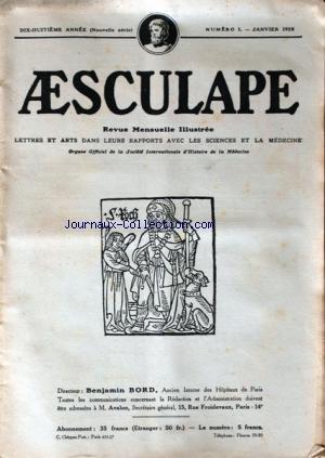 AESCULAPE [No 1] du 01/01/1928 - REVUE ILLUSTREE LETTRES ET ARTS DANS LEURS RAPPORTS AVEC LES SCIENCES ET LA MEDECINE