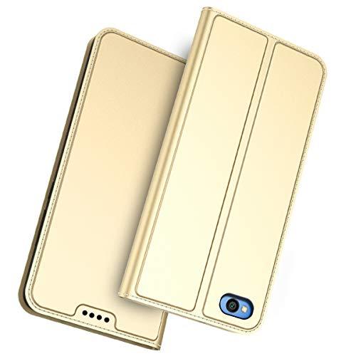 Banath Estuche de Billetera para Xiaomi Redmi Go, Elegante Soporte de Cuero de PU Delgado y Titulares de Tarjetas Estuche Protector de Billetera de Teléfono para Xiaomi Redmi Go - Dorado
