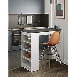 Symbiosis Table Bar avec rangements, Panneaux de Particules Melamines, Blanc mat/Béton, 115 x 50 x 102,7 cm