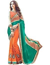 G Stuff Fashion Women Georgette saree With Blouse Piece_saree_Green_orange_saree