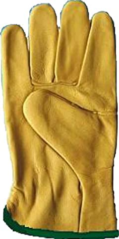 Shropshire Supplies Leather Drivers Gloves Fleece Lined Work Gloves - Size 7 Yellow