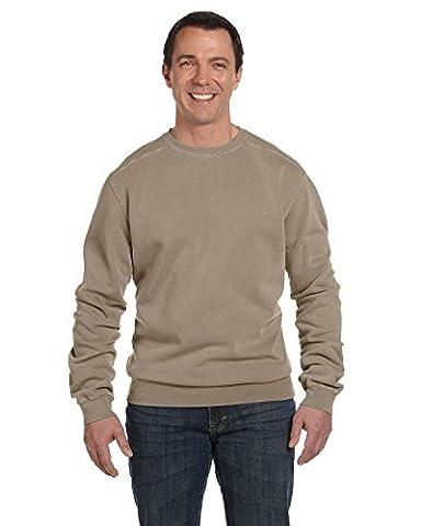 Authentic Pigment 11 oz. Pigment-Dyed Fleece Crew, Small, MOCHA