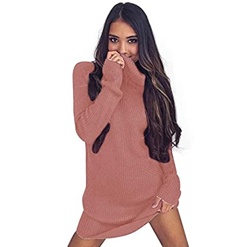 Tonsee Womens Casual manches longues Pull col roulé Pull Manteau Chemisier (L, Rose)