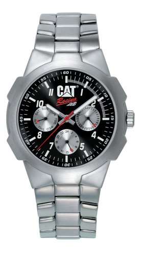Caterpillar RACING CA0890 - Reloj analógico de caballero de cuarzo con correa de acero inoxidable plateada