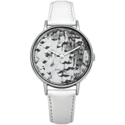 Fiorelli Women's Quartz Watch with Multicolour Dial Analogue Display and White Leather Strap FO010WS