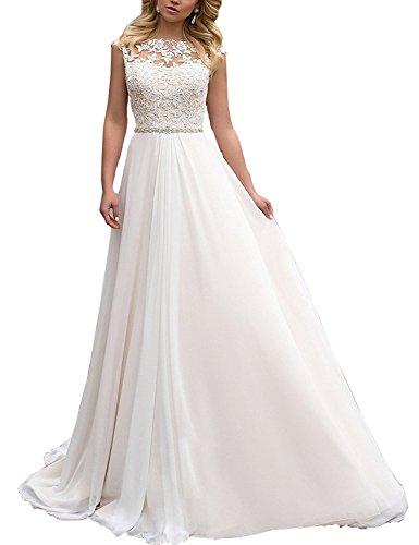 CLLA dress Damen Spitze Chiffon Hochzeitskleid Lang Elegant Brautkleid Abendkleider(Elfenbein,44)
