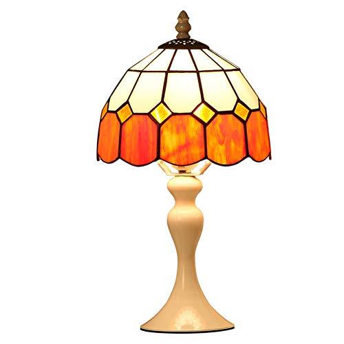 CCSUN Led E27 Tiffany stil Tischleuchte,Dimmbar Modern Elegant Nachttischlampe Für Schlafzimmer Wohnzimmer Studie] 15' h -Orange/wei?es Licht Knopfschalter -