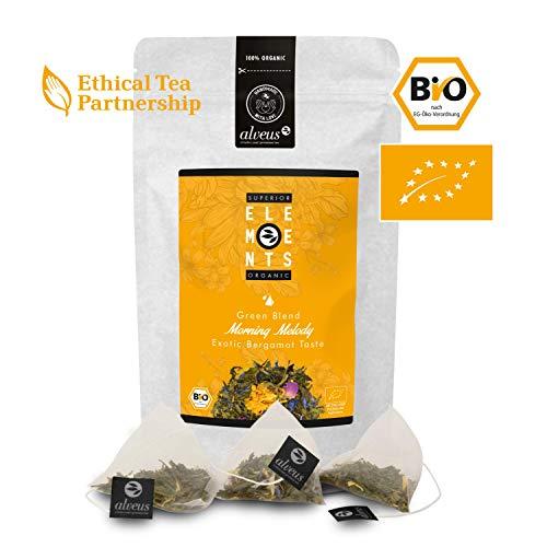 alveus Morning Melody Organics Elements: Teemischung mit grünem Tee, Pai Mu Man, natürliches Aroma, Ringelblume, blauen Kornblumen, Rosenblüten, Tüte mit 15 Pyramidenbeutel à 3g